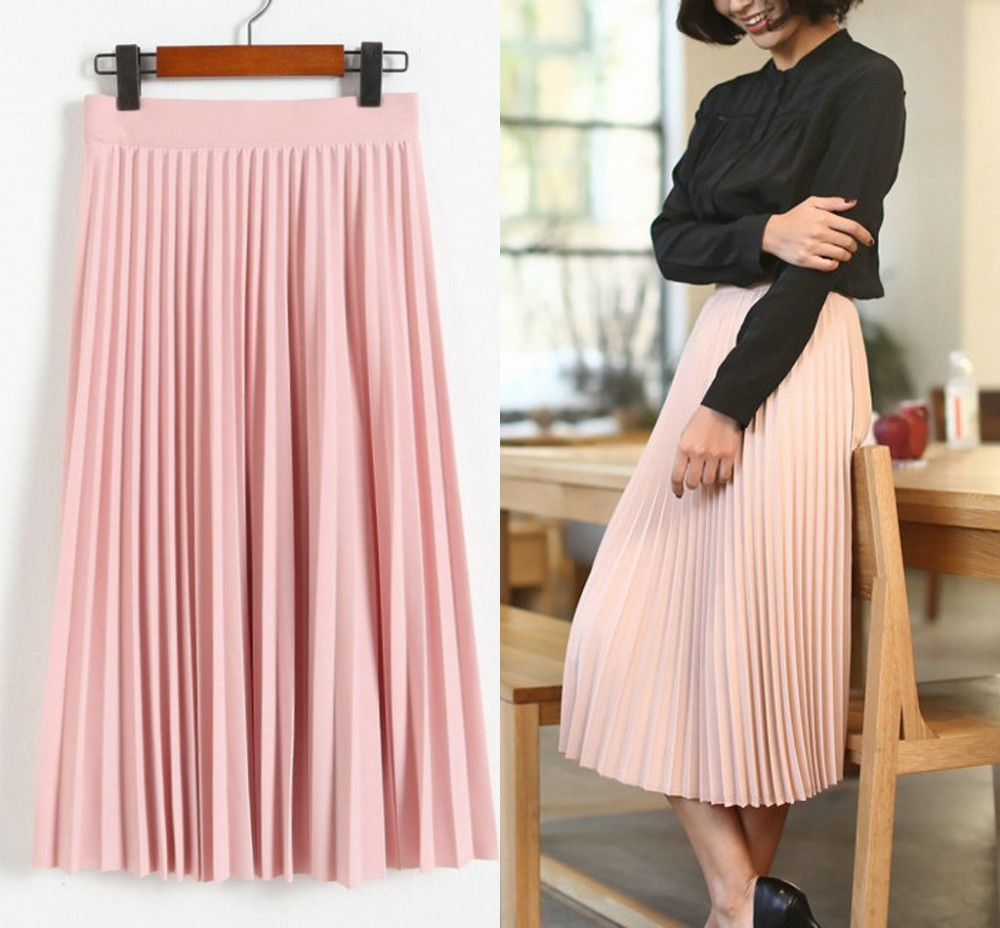 Garment factory 2017 newest fashion designer ladies long skirt, wholesale maxi pleated chiffon long skirt