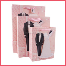 Nice Design 3D Love Elegant Bridal Veil Wedding Dress Paper Bag