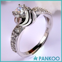 new Simulation Diamond 925 sterling silver flowers infinity rings