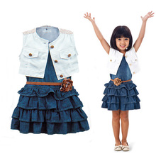 Brand New Girls Clothes Set 2016 Fashion Baby Girl Clothing Set Casual Girl Dress With Belt + White Sleeveless Coat Kids Clothes