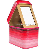 PU Leather Travel Makeup Organizer Case with Large Mirror