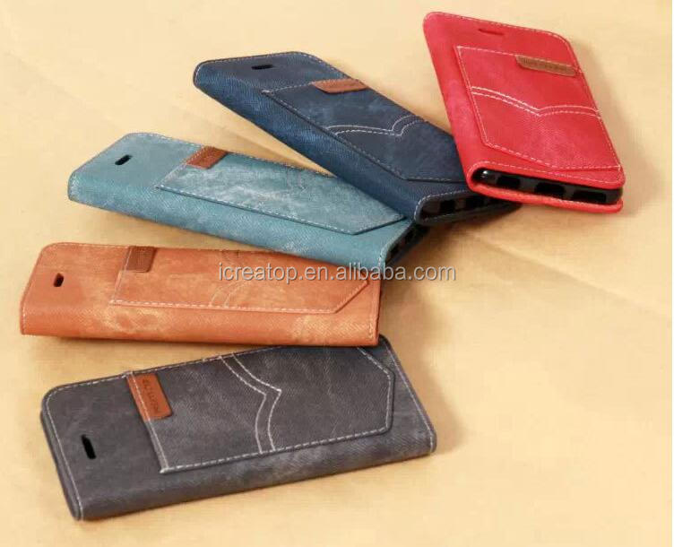 Smart Phone Wallet Style PU denim Leather case,leather mobile phone shell for iPhone 7/7plus/6/6plus/6s/6s plus
