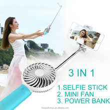 rechargeable mini monopod Selfie Stick with Fan and power bank , USB Self timer lever fan