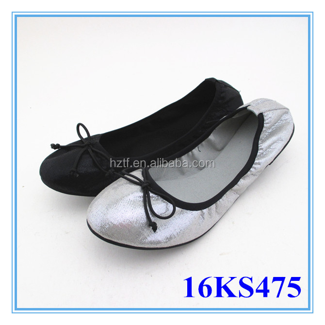 Foldable flat bling bling shoes with bow