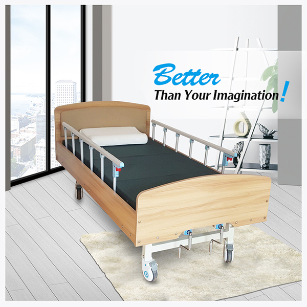 Standard wooden home caring beds with unfoldable side rails