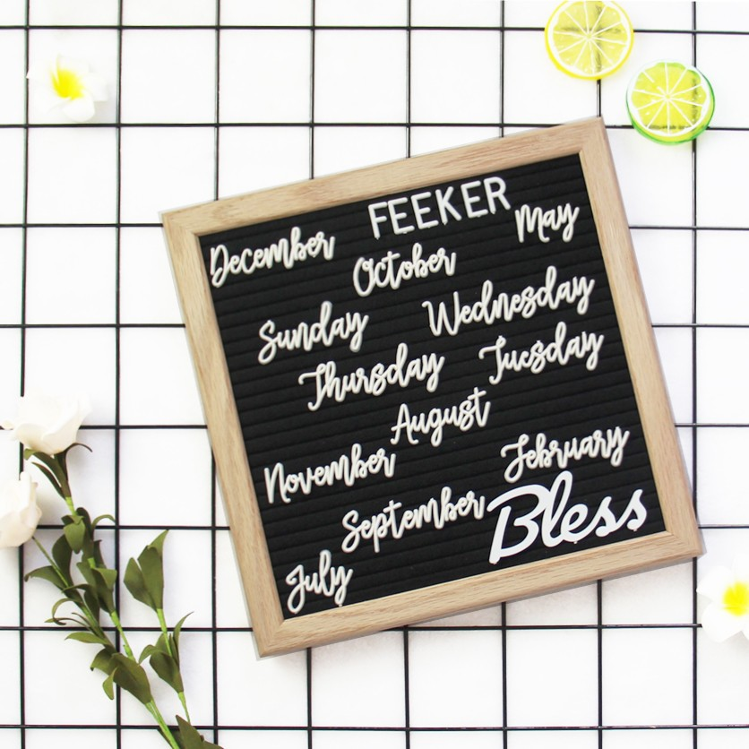 "High Quality Felt LetterBoard 10""<strong>x10</strong>"" with colorful characters message Boards Changeable wood stand pin letter board"