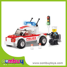 Intelligence traffic command vehicle building blocks toy education city games kids