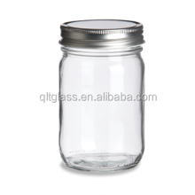 High Quality Wholesale 12 oz Eco Clear Custom Glass Jar Mason with Silver Lid