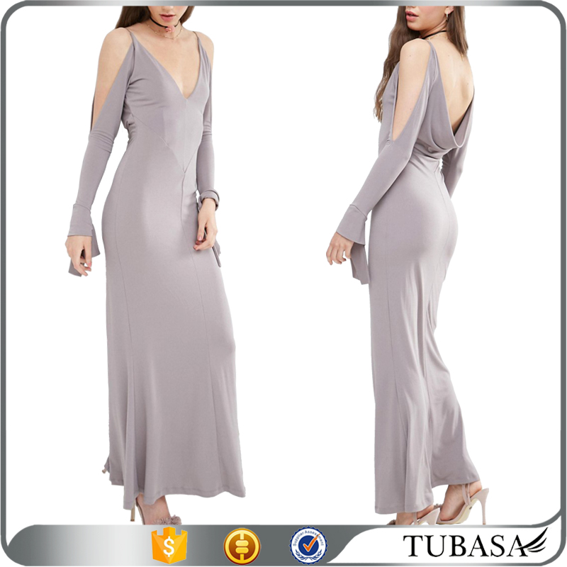 fashion design ladies wear long evening party wear gown maxi prom dresses with cold shoulder