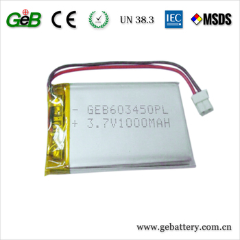 3.7V 1000mAh Rechargeable Lithium Polymer Batteries for Game Player, Mobile Phone