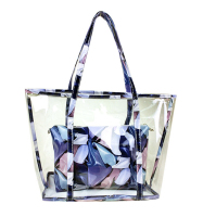 Cathylin 2015 colorful girl transparent plastic flower pvc shoulder bag with purse zipper wallet