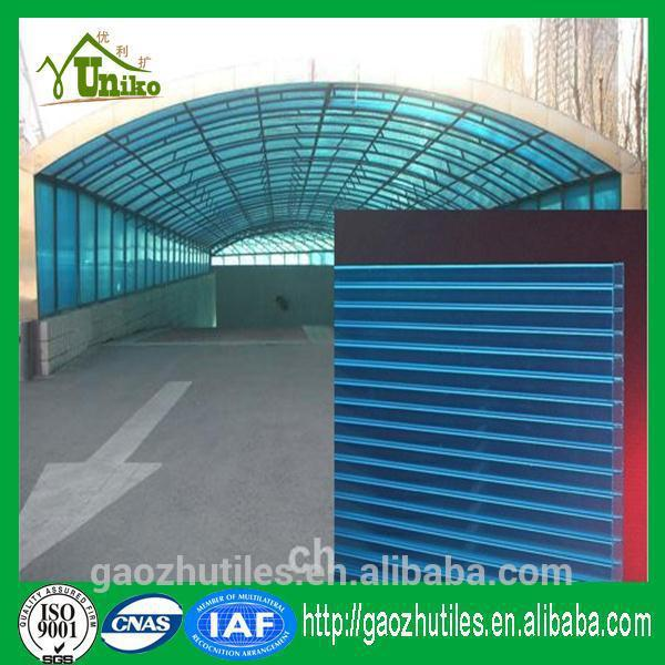 super highly semi-transparent 4mm clear polycarbonate hollow roofing sheets