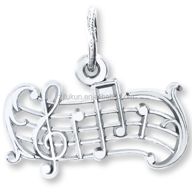 New Genuine Unique Diamond Music Notes Charms For Necklace