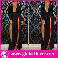 Top selling black long sleeve big V collar side slit tall tube women sexy hippie flowing maxi dress