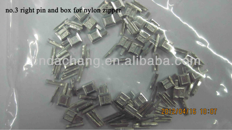 3# right pin and box for nylon zipper accessories