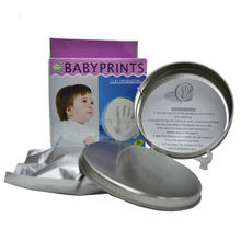 Baby hand and footprints clay with Tin Can