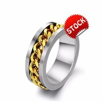 2015 Newest Trendy Rings Jewelry Mens High Polish Silver 316 Stainless Steel Round 18K Gold Plated Roll Chain Attached Ring