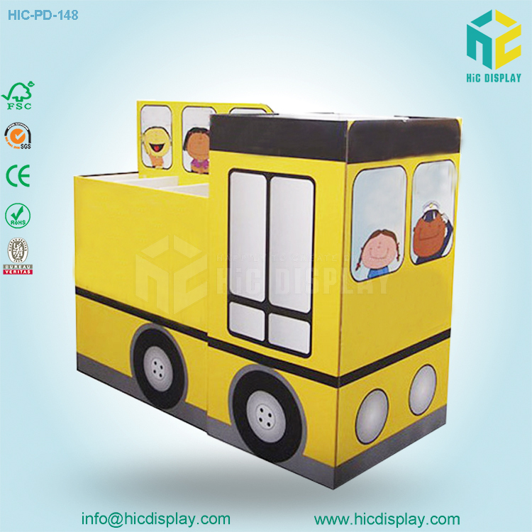 Wholesale school bus shaped cardboard display from Shenzhen 12 years Professional Manufacturer