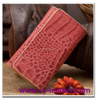 beatiful hot sell cow leather wallet with croco pattern for lady