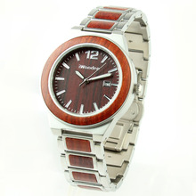 High quality custom logo wood wrist watch , simple men stainless steel wood watch