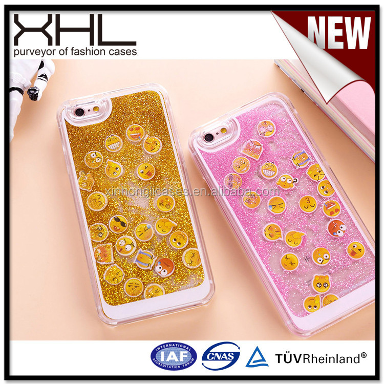 Glitter liquid phone case for IPhone6sQQ mobile expression pack flashing liquid sand mobile phone shell
