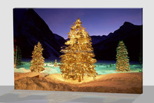 Flashing wall art painting, christmas tree canvas oil painting