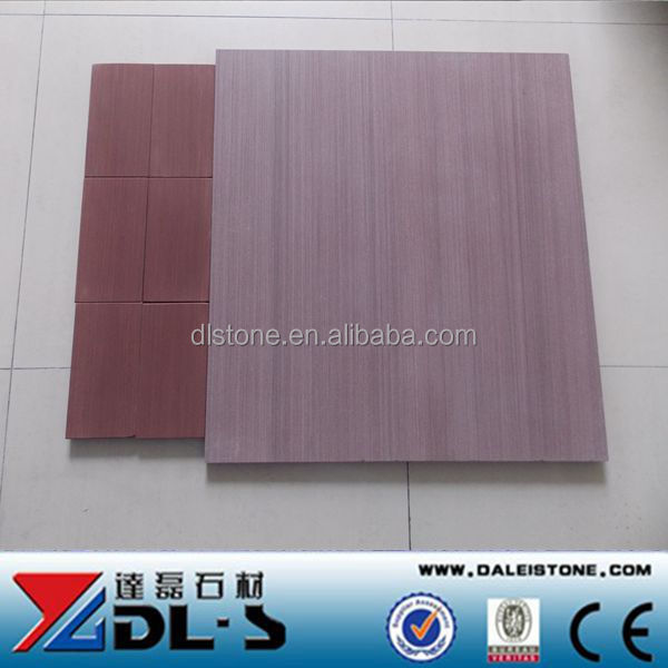 China Red, purple color wooden vein Sandstone wall&floor tile cut size 400x400 honed price
