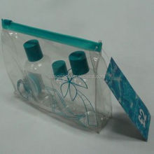 New Fashion Promotional Transparent Cosmetic PVC Bag Slider Zip Bags Clear Travel Toiletry Wash Bag