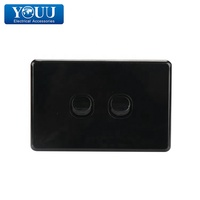 YOUU Switch Power Touch Switch Black 2 Gang Wall Switch Horizontal U1502B 10A 250V