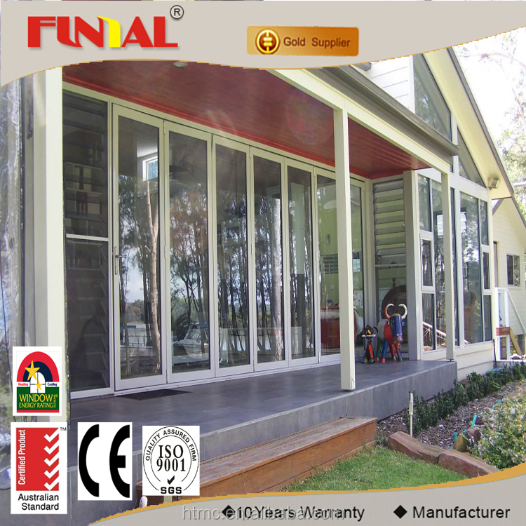 china supplier used exterior aluminum frame glass bi folding door with mosquito screen
