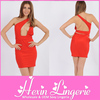 Red sexy spaghatti strap open back bandage dress