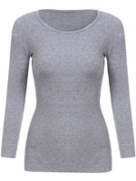 Sweaters Tops fashion women christmas latest design Grey Round Neck Slim Knitwear