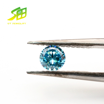 Good Quality Machine Cut Synthetic Aquamarine Round 5mm Cubic Zirconia Stone