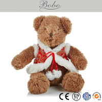 Original designed brown plush teddy bear toy in China Tang suit