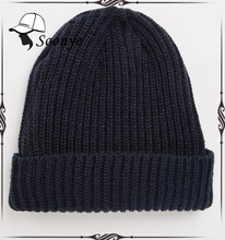 Ribbed Knit Beanie Fisherman Beanie with turn up cuff