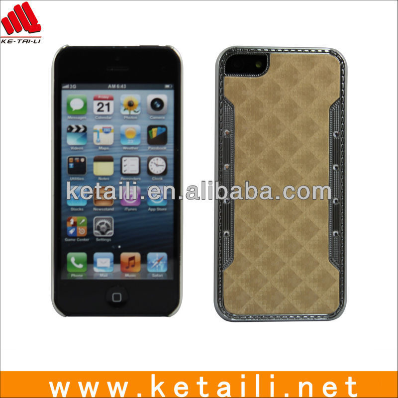 Hybrid Plastic Leather Rhinestone Paser Cell Phone Case Cover For Iphone 5