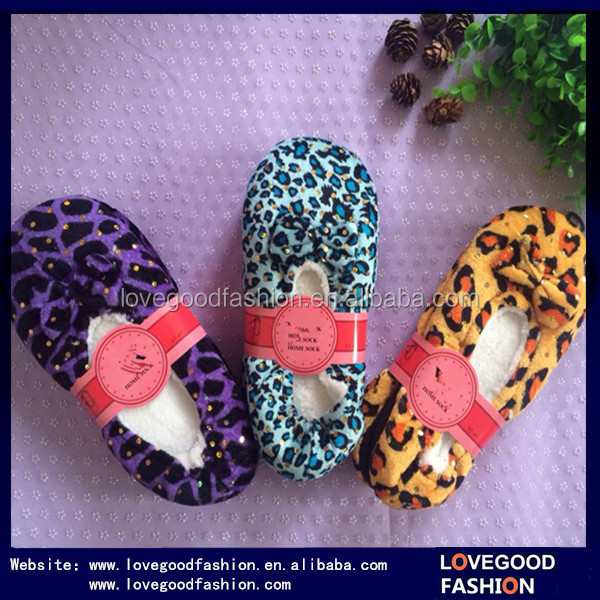 2015 Canton Fair New Design Leopard-Print Terry Ballerina Slippers with Sequin and Bow