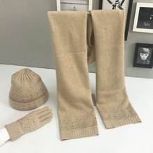 Alibaba top sale european fashion white knitted wool womens hot drilling hat scarf glove set & scarf hat gloves sets winter knit
