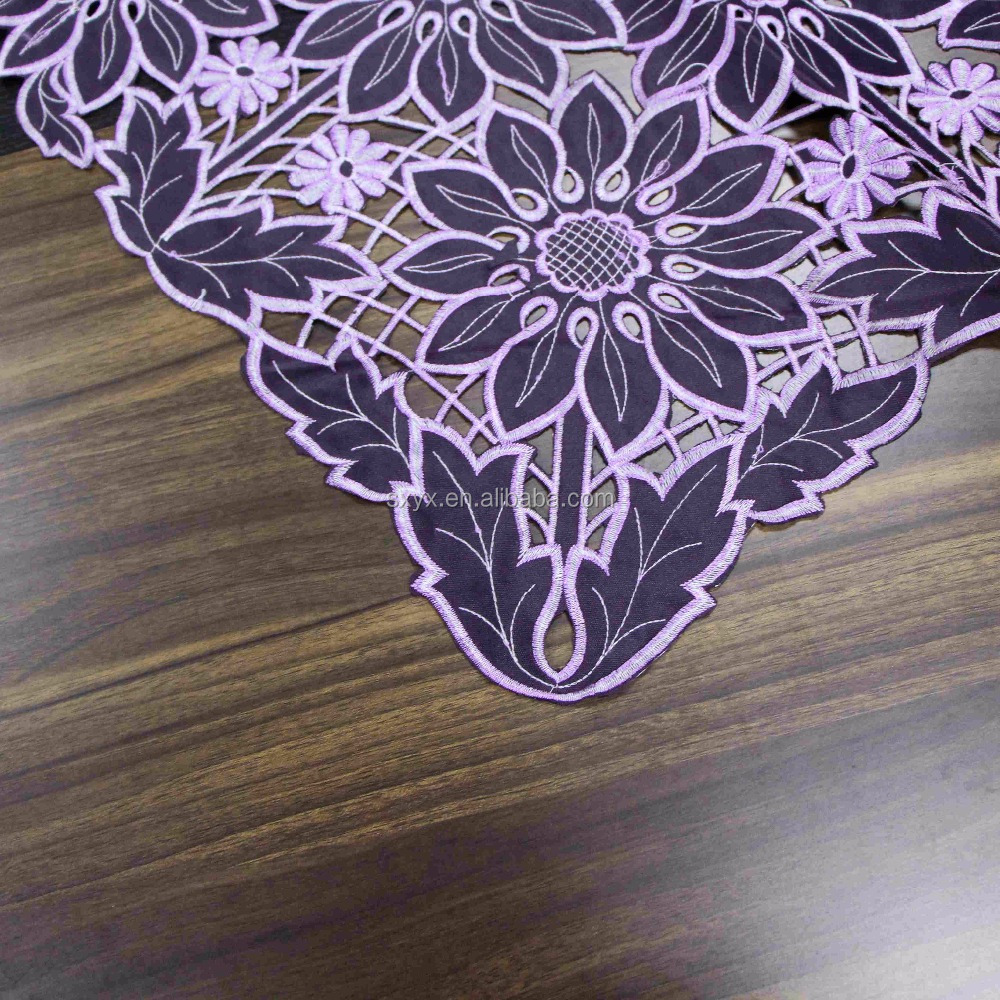 Cutwork follower design embroidered hollow lace square 36 inch tablecloth for beside table /refrigerator /room table cover