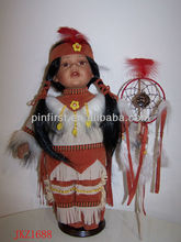 Native American Indian Baby Dolls Ceramic Head, Hands and Feet 16""