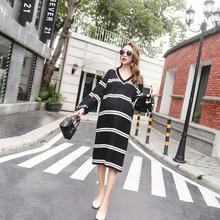 Loose Big Size Women Dress Striped Knitted Dress Pregnant Women Dress