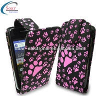 2013 paw design flip leather case for samsung galaxy ace s5830