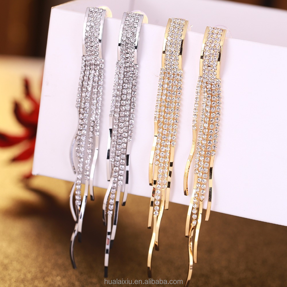 fashion long fringe wedding chandelier women <strong>earring</strong> ornamented with diamond
