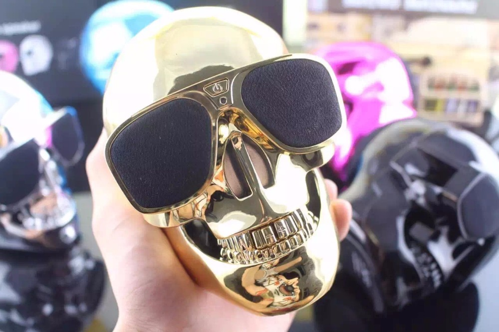 Fashion New Plastic Metallic SKULL Wireless Bluetooth Speaker Sunglass NFC Skull Speaker Mobile Subwoofer Bluetooth Speaker