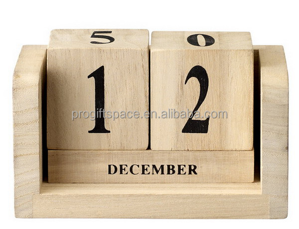2017 fashion hot sales hand craft kids gifts wholesale desktop wooden stand decoration wood perpetual calendar made in China