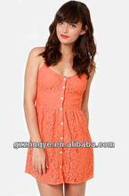 Coral orange button-up sleeveless lace dress