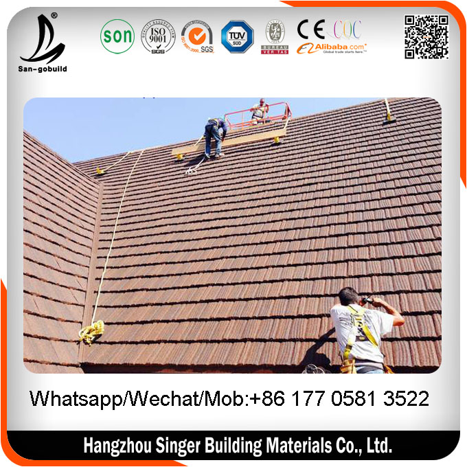 Africa Cheap Solar / Recycled / French Solar Sun Stone Coated Roof Tiles