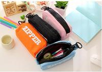 Back to School Canvas Pencil pouches Cosmetic Case Solid Color zipper Pencils Pouch