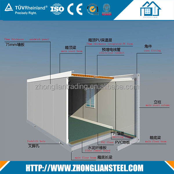 Italy movable modular cargo sea two story reefer container house