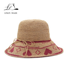 Best quality customized lady raffia straw hat woven with accessary